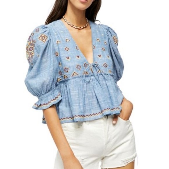 Free People Tops - NEW $128 Free People Tallulah Embroidered Blouse